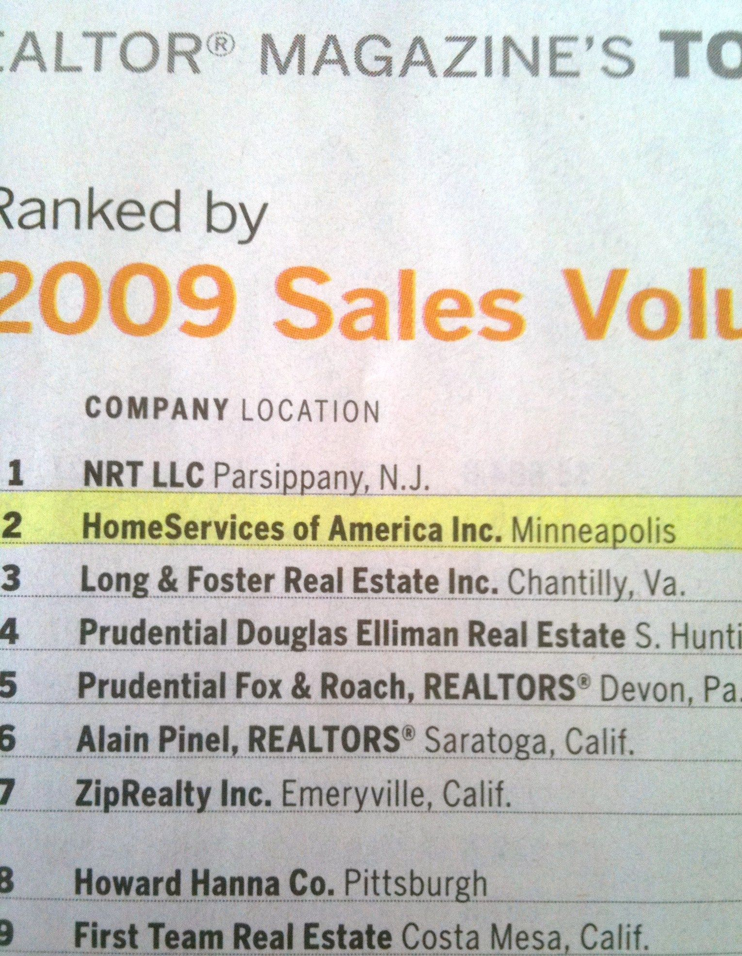 Home Services of America #2 Sales volume 2009