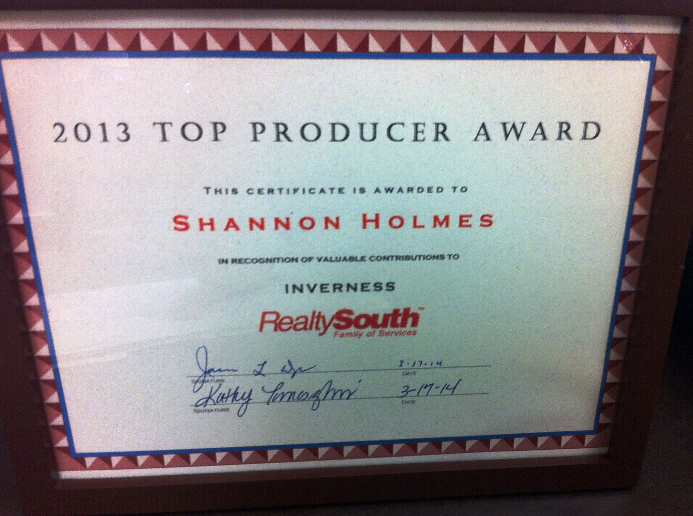 Shannon Holmes named Top Producer RealtySouth